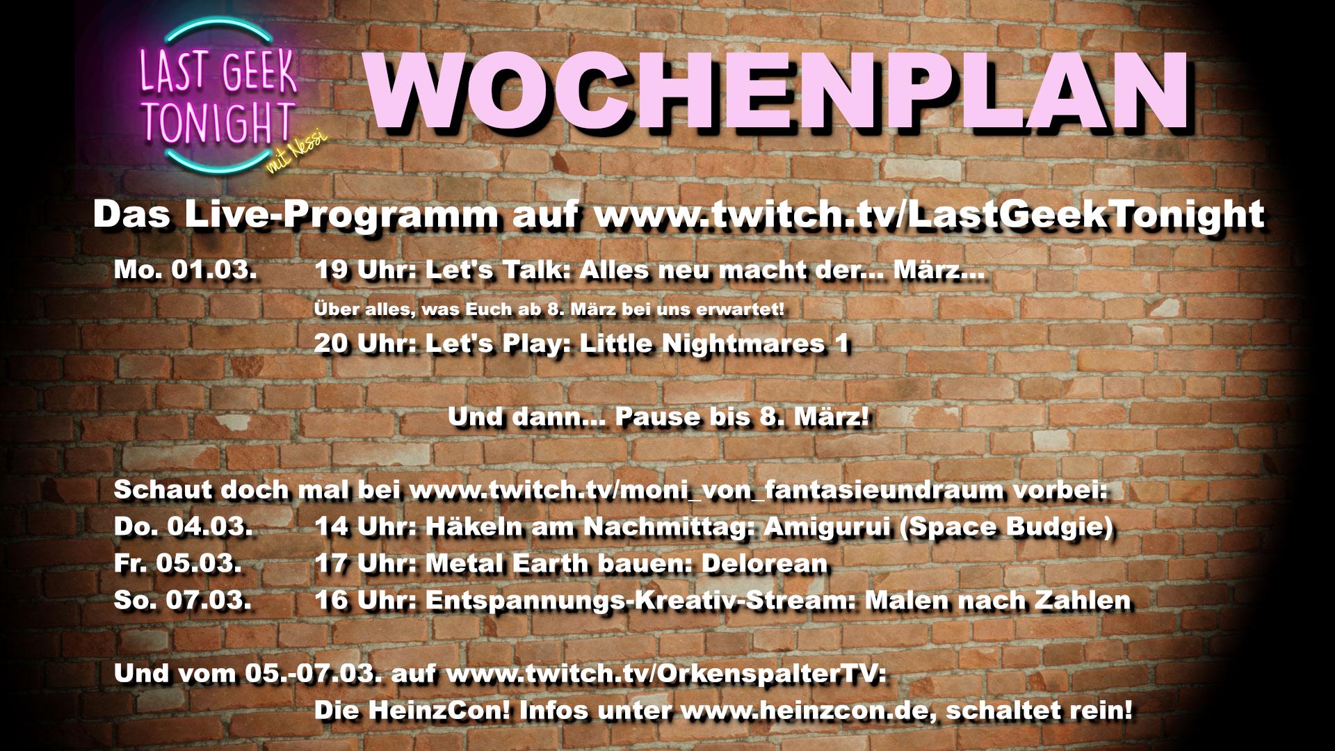 Twitch Wochenplan 1. bis 7 März